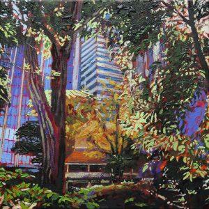 Bishop's See House Gardens, Perth - 30x30cm oil-encaustic SOLD