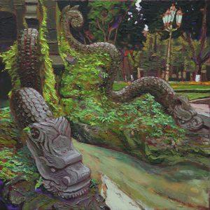 Dragon fountain, Hanoi - 50x50cm oil-encaustic AVAILABLE