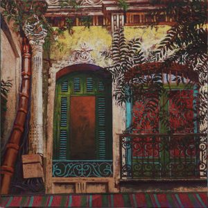 French window, Hanoi - 70x70cm oil-encaustic SOLD