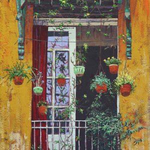 Hanoi balcony - 50x80cm oil-encaustic SOLD
