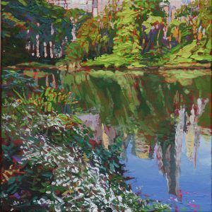 Lakeview Central Park - 30x30cm oil-encaustic SOLD