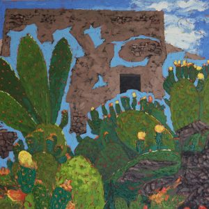 Prickly Pears, Santorini - 61x61cm oil-encaustic SOLD