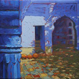 Pushka courtyard - 30x30cm oil-encaustic SOLD