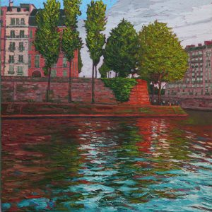 St Louis banks, Paris - 76x76cm oil-encaustic AVAILABLE
