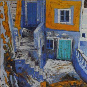 The blue house, Santorini - 61x61cm oil-encaustic SOLD