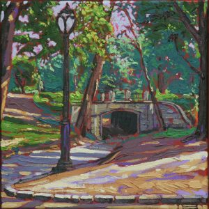 The bridge, Central Park - 30x30cm oil-encaustic SOLD