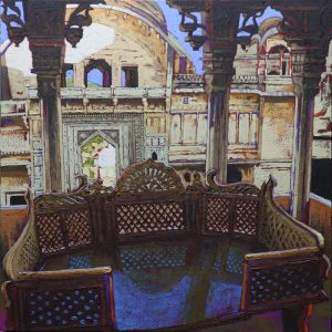 The marble throne, Fort Bundi - 80x80cm oil-encaustic SOLD