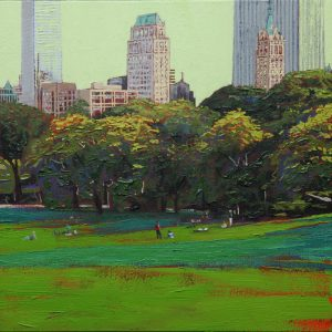 The sheep meadow, Central park - 40x40cm oil-encaustic SOLD