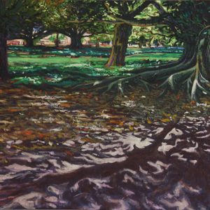 Urban Sanctum, Hyde Park - 160x65cm oil-encaustic AVAILABLE