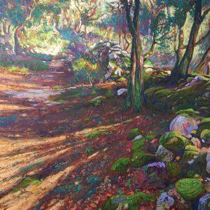 Chemin d'Hiver; oil-encaustic on canvas, 78x78cm AVAILABLE