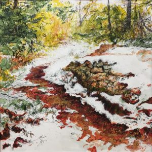 Snow path - Jouques 40x40cm mixed media